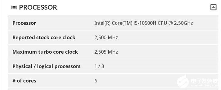 英特爾i5-10500H處理器曝光,全核boost頻率將達到3GHz