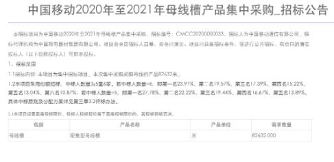 中国移动正式发布了2020-2021年母线槽产品集中采购招标公告