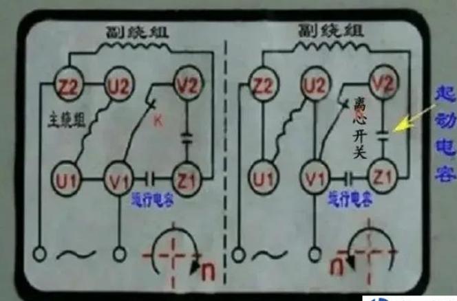 220v的单向电动机正反转和倒顺开关接线原理图