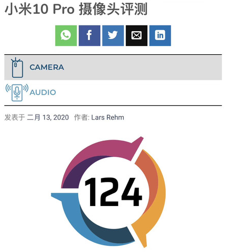 小米10 Pro权威相机得分曝光总分为124分位列榜单第一