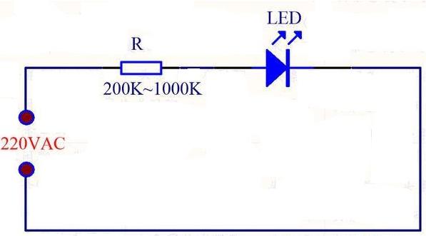 发光二极管220v指示灯怎么接