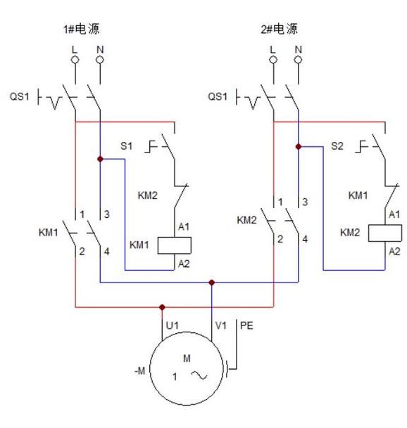 单相双电源自投控制原理图