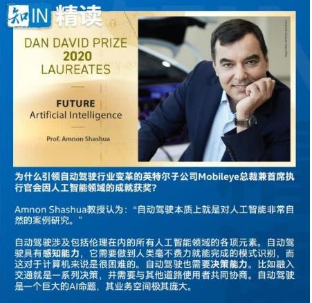 Amnon Shashua教授荣膺2020年人工智能领域的Dan David奖