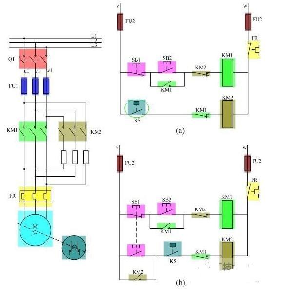 电动机反接制动控制线路的原理图