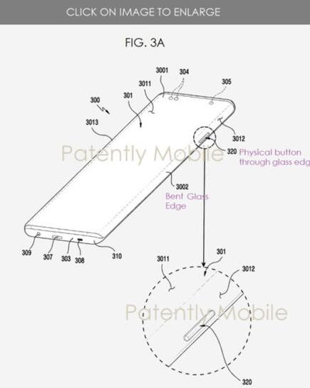 三星新专利曝光在曲面屏幕上挖孔并配备了实体按键