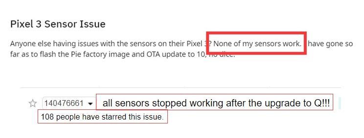 谷歌Pixel设备传感器多项功能失效还没修好