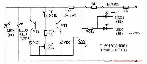 雙向晶閘管溫度控制的電路原理圖