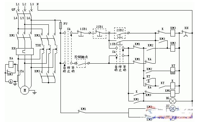 電動機自耦降壓起動電氣控制原理圖