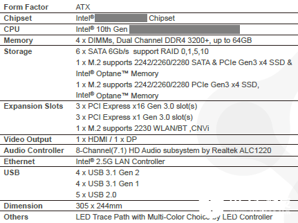 十代酷睿高端型Z490主板曝光 總線規格依舊是PCIe 3.0且USB接口并不支持USB 3.2