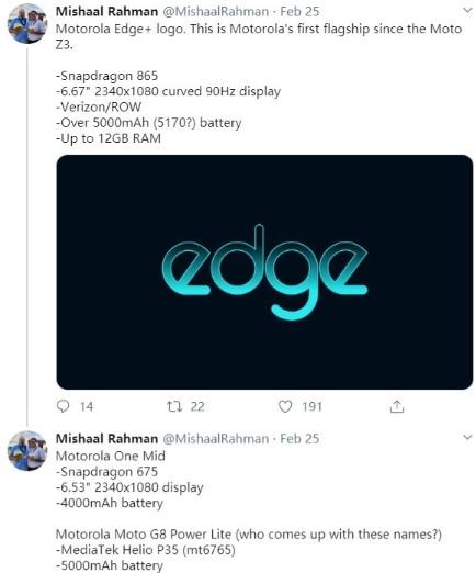 摩托罗拉Edge +曝光,搭载高通骁龙865移动平台