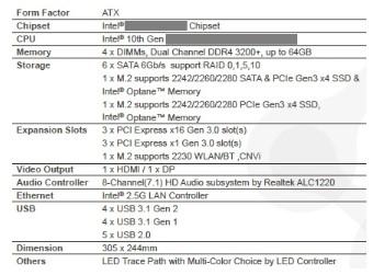 英特尔400系列主板搭载4条内存插槽,将采用LGA1200插槽