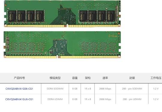 长鑫国产DDR4内存芯片的外观和参数曝光,使用19纳米制造技术