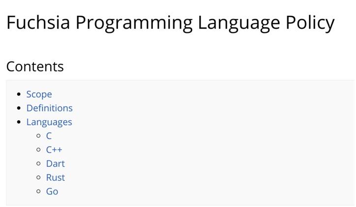 谷歌Fuchsia编辑语言策略介绍