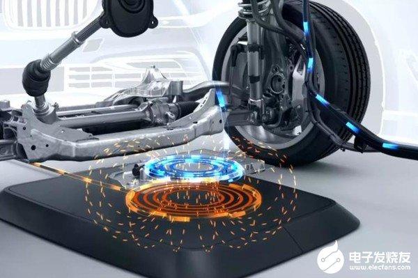 宝马电动汽车无线充电板,可自动开始充电