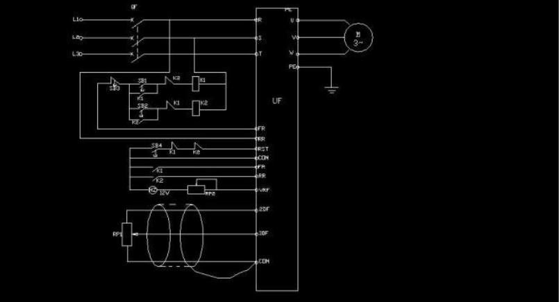變頻器控制電動機正反轉電路及參數設置