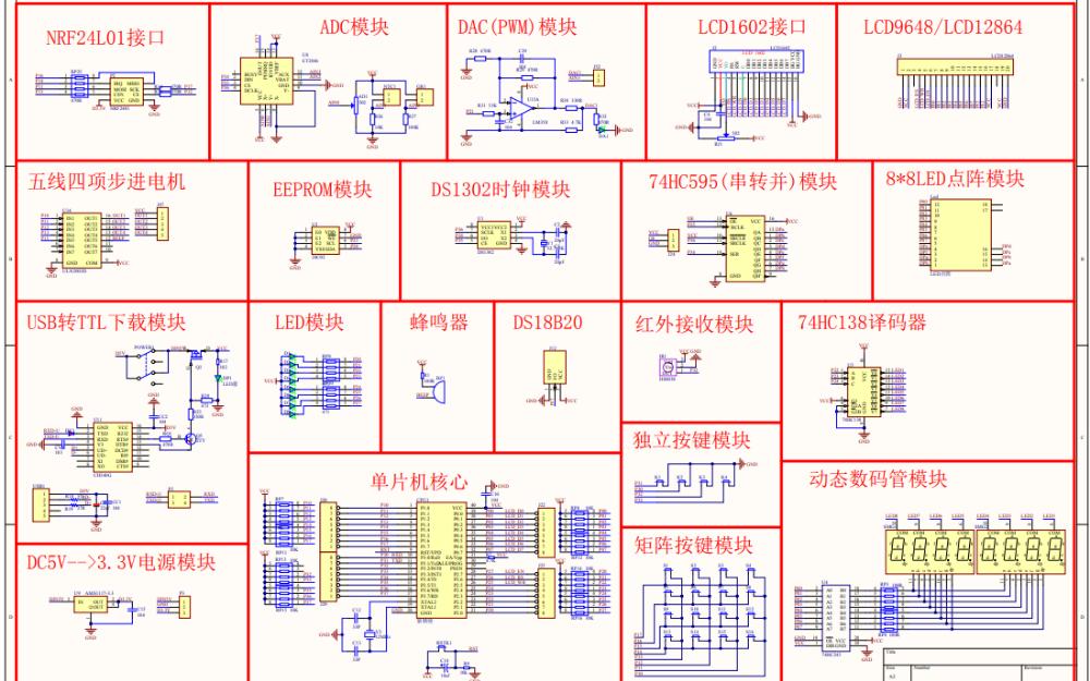 普中A2开发板的电路原理图