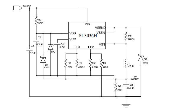 SL3036H内置MOS开关降压型DC-DC转换器的数据手册免费下载