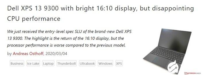 戴尔XPS 13 9300笔记本评测,CPU性能...