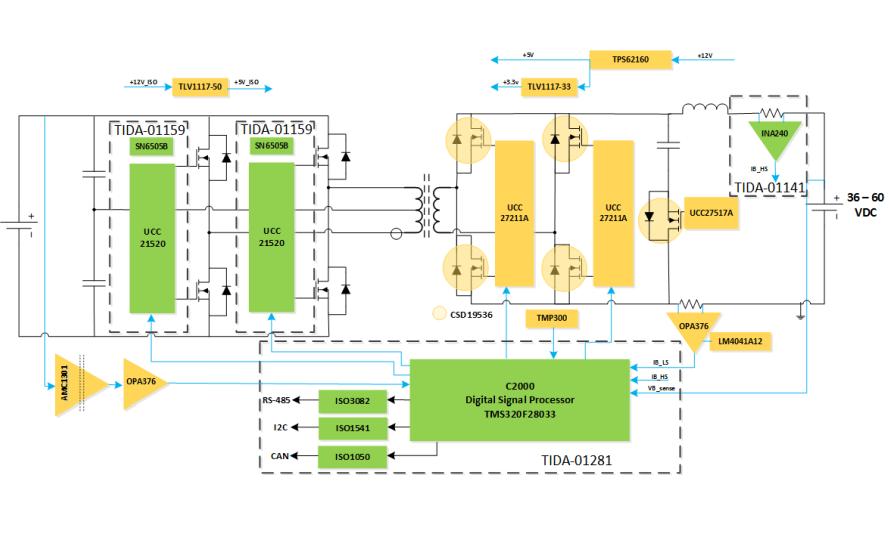 48V至400V隔离式双向转换器的电路图免费下载