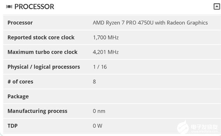 AMD R7 PRO 4750U现身跑分库,加速频率可达4.2GHz