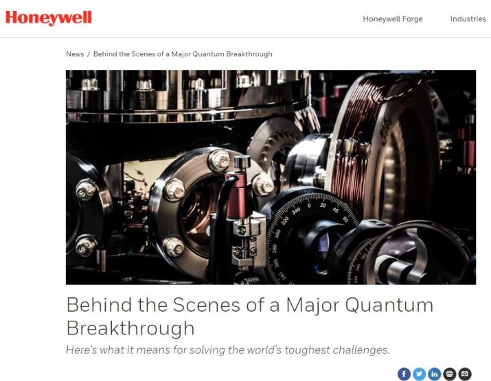 取得突破,霍尼韦尔将发布全球最强大的量子计算机