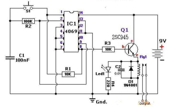 基于CD4069構成的電子開關電路圖分享