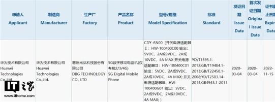 華為5G新機通過3C認證,配備40W開關電源適配...