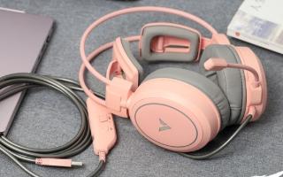 雷柏清莹粉版VH610电竞耳机评测,颜值和性能均...