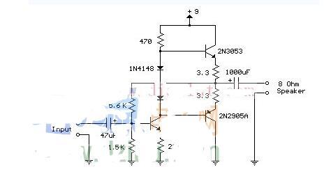50毫瓦晶体管音频放大器的电路分享