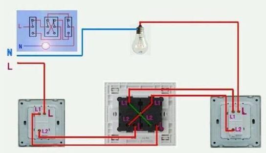 三联开关的实物图与线路图