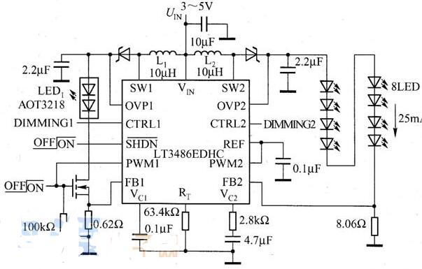 LT3486驱动LED的典型应用电路图