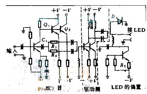 LED发射机的线性度控制电路图