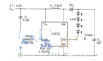 CAT32驱动白光的典型应用电路