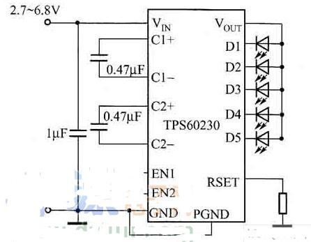 TPS60230驱动5个白光LED的应用电路