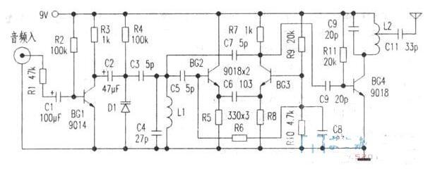 无线音频收发器电路图