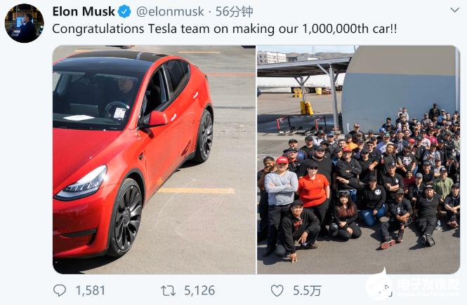 特斯拉第100万辆电动车下线 得益于2019年销...