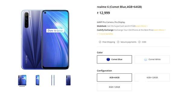 realme 6在印度上市 起售价约合人民币1200元