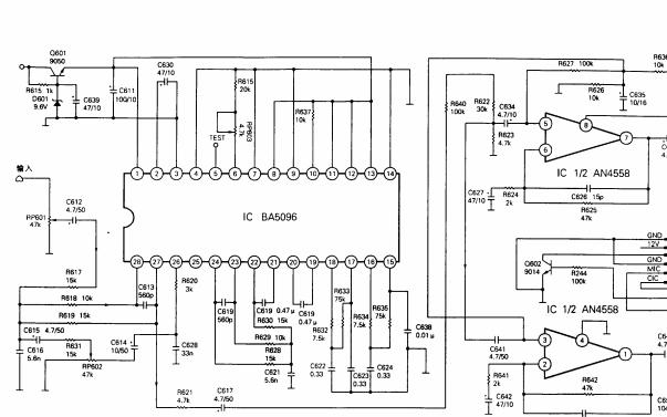 BA5096数码混响集成电路的电路图免费下载