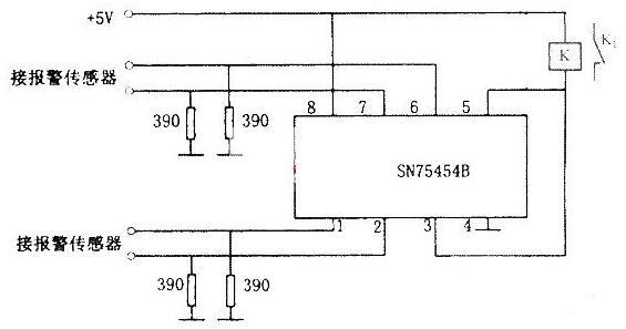 基于SN75454B构成的四路报警器电路