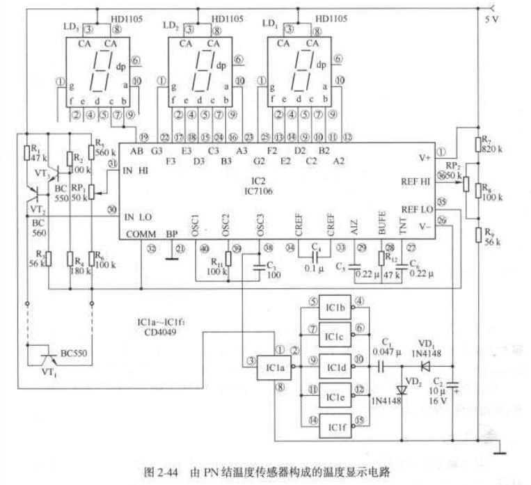 PN结温度传感器构成的温度显示电路