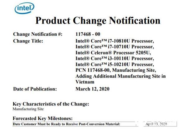 Intel越南封装厂生产十代酷睿处理器 14nm产能有了实质性的改善