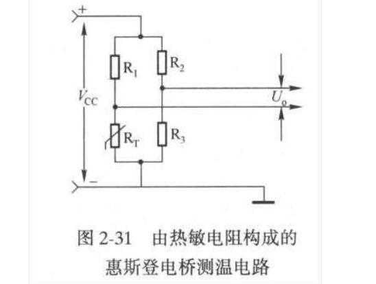 热敏电阻构成的惠斯登电桥测温电路