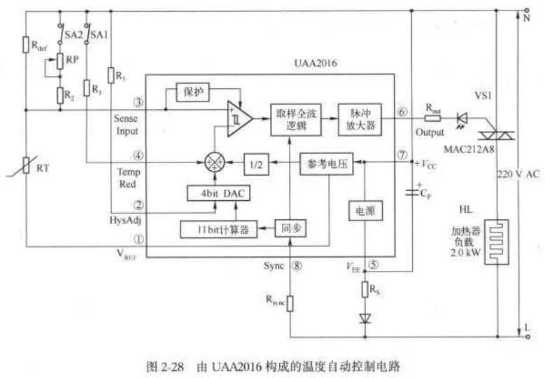 UAA2016构成的温度自动控制电路