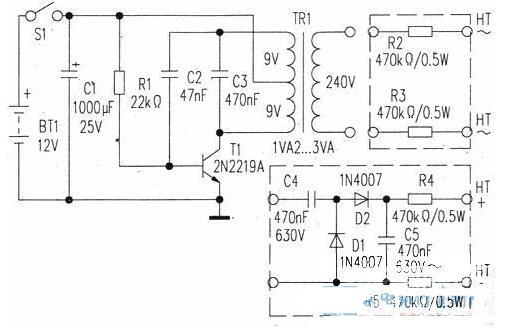 简易高压发生器电路图