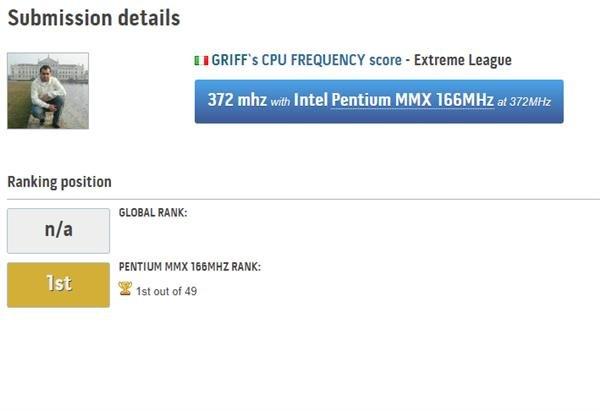 國外超頻玩家將奔騰MMX處理器超頻到372MHz 創該處理器新紀錄
