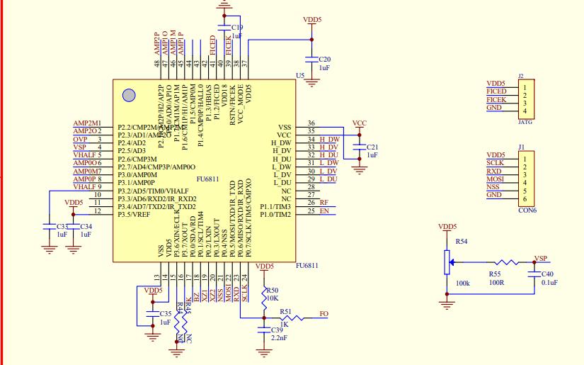 FU6811电机控制器和FD6536驱动器的应用原理图免费下载
