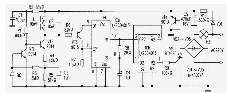 微功耗遥控照明灯电路工作原理