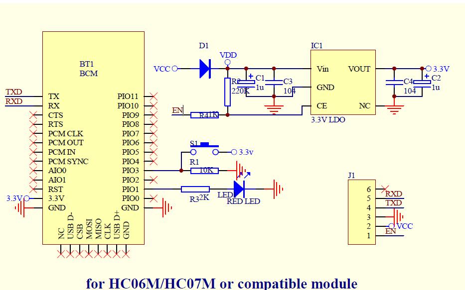 BC04和HC05及HC06S与HC07S HC06M与HC07M蓝牙模块的电路图免费下载