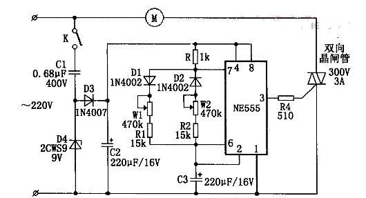 电风扇阵风控制器电路图