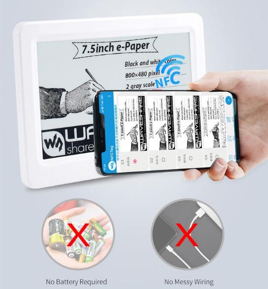 全靠NFC驱动的电子墨水显示屏